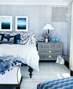 Indian inspired bedroom in Indigo and White.