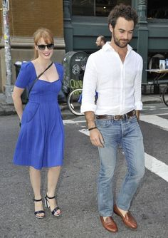 Jessica Chastain and Gian Luca Passi de Perposulo are seen on August 20, 2014 in New York City.