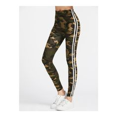 SheIn(sheinside) Camo Print Striped Side Leggings ($9) ❤ liked on Polyvore featuring green