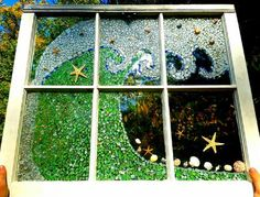 Waves - sea glass window: I've been collecting beach glass from Lake Erie in different parts of Ohio for 4 years, thanks to my Aunt Annie! I decided to start a mosaic and sought Sea Glass Mosaic, Sea Glass Beach, Sea Glass Art, Glass Wall Art, Stained Glass, Window Glass, Window Art, Fused Glass, Seashell Painting