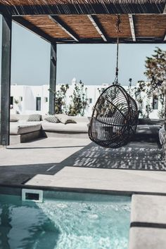 Luxe boho outdoor space – My Mykonos Hotel. Outdoor Lounge, Outdoor Living, Jacuzzi Outdoor, Outdoor Areas, Outdoor Decor, Santorini Hotels, Boho Decor, Bohemian Decorating, Decoration