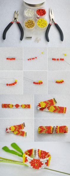 Beaded Bracelet Ideas-How to Make Wide Stitch Beading Bracelet Patterns from LC.Pandahall.com       #pandahall