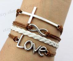 Cross infinity & infinite love bracelet brown by luckystargift, $4.89