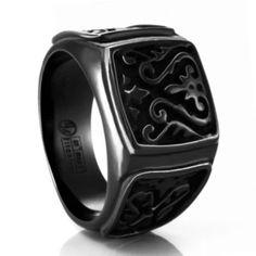 Heritage Black Titanium Mens Signet Wedding Ring #TitaniumJewelry