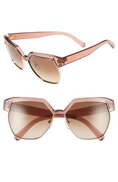 Chloé 'Dafne  ' 60mm Gradient Sunglasses available at #Nordstrom in tortoise