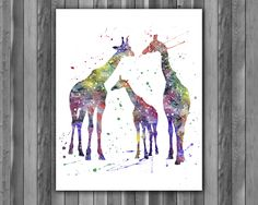Family giraffes animals watercolor, Family giraffes Art Print, Family giraffes