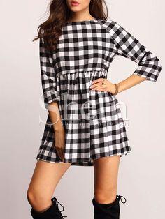 Shop Black Plaid Boat Neck Dress online. SheIn offers Black Plaid Boat Neck Dress & more to fit your fashionable needs.