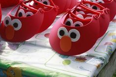 Elmo Birthday Party Visors (we also made Cookie Monster, Abby, & Oscar for a 2 yr old party) So much fun, easy, and they're so cute!