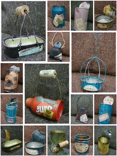 Diy Home Crafts, Garden Crafts, Crafts To Make, Recycle Cans, Recycle Plastic Bottles, Decoupage Tins, Soda Can Crafts, Tin Can Art, Aluminum Can Crafts