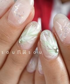 white/lame/feather/nails