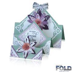Handmade FOLD-abilities Tri Fold Diamonds Step Card. Bazzill Hazel Colour.