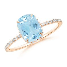 Make a statement with this Thin Shank Cushion Cut Aquamarine Ring With Diamond Accents from Angara.com. Explore a fascinating array of designs