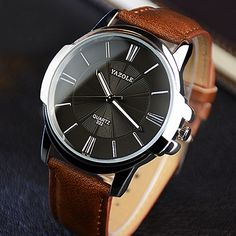 Yazole 332 Men Stylish Cowhide Band Iridescent Quartz Watch - Earthy c – vally shop deal Army Watches, High End Watches, Cool Watches, Casual Watches, Male Watches, Elegant Watches, Sport Watches, Vintage Watches For Men, Luxury Watches For Men