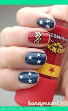 Not really a nail art kinda girl, but Im loving this Wonder Woman thing! 31 Images Of Gorgeously Geeky Nail Art women beauty and make up Get Nails, Fancy Nails, Love Nails, How To Do Nails, Pretty Nails, Hair And Nails, Nail Art Geek, Wonder Woman Nails, Wonder Nails