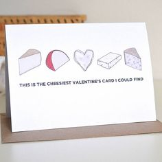 cheesy valentine's card by becka griffin illustration | notonthehighstreet.com. I LOVE cheese :)