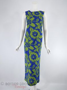 60s Hawaiian Maxi Shift Dress Green on Blue Floral - sm by Better Dresses Vintage