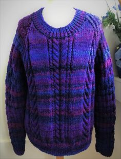 Hand knitted Purple Aran cable sweater basketweave back/sleeves by bexknitwear  #Bexknitwear #Jumpers