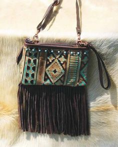 ba634b015a Double J Saddlery Turquoise and Brown Navajo Stadium Purse