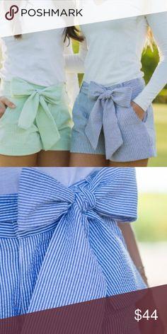 Brand New Seersucker Shorts Never worn! grey seersucker shorts with bow belt! So cute just not my size. Lauren James Shorts