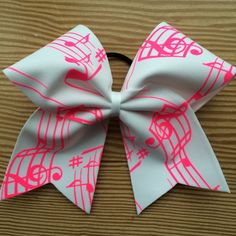 White & Hot Pink Music Note Cheer Bow by CarleysBows on Etsy