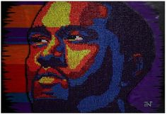 """""""Kanye West - Tacks on tacks on tacks"""" Andre Woolery  Tacks on tacks on tacks""""  made of 8,000+ pushpins on canvas in 2011.     """"It was a moment in time, where the black man had larger than life status and could fit within the frame of pop art. From Jay-Z transcending music to be a global mogul, to Kanye pushing the hip hop genre into new territory, to the United States on the verge of re-electing the first black president..this was clearly a moment when the black man was pop on all levels."""""""