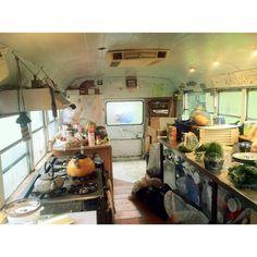 """Rainy gloomy days spent inside the kitchen bus ☔️"""
