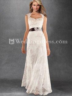 antique lace wedding dresses | Vintage-Inspired Keyhole Back Tulle Lace Satin Wedding Gown on Wanelo