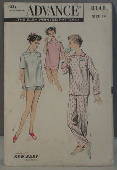 vintage 1960s pattern Advance 8148 pajama top and pants size 14, Italian inspired, FindersOfKeepers, $9.97 via Etsy  11714