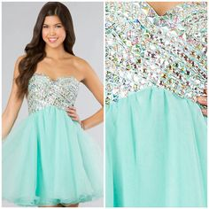 Cute teal short prom dress