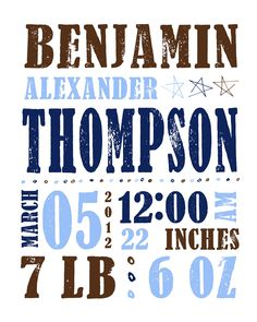 Birth Date Baby Boy Stats Nursery Wall Art Customized PRINTABLE for New Baby Boys. $15.00, via Etsy.