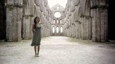 http://www.turismo.intoscana.it/  Mystery Tuscany  The film narrator, Carolina, in the Abbey of Saint Galgano, Tuscany, Italy.