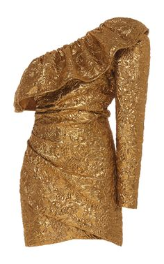 Peter Dundas makes party dressing simple—toss on one of his mini frocks and you're just about ready. This style is crafted from metallic jacquard with a one-shoulder ruffled neckline. Complete your look with metallic accessories and platform heels. Stage Outfits, Dress Outfits, Fashion Dresses, Mood Designer Fabrics, Mini Frock, Kpop Fashion, Classy Outfits, Dress Collection, Evening Dresses
