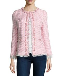 Tweed+Beaded+Jacket,+Plus+Size+by+Michael+Simon+at+Neiman+Marcus.