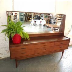 1950's Mirrored 6 Drawer Teak Sideboard Hall Table #midcentury #1950s #50s #sideboard #teaksideboard #teak #50sfurniture
