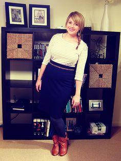 neutral stripe top + skinny belt + pencil skirt