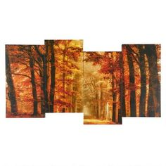 """One of my favorite discoveries at ChristmasTreeShops.com: 18""""x38"""" Red Leaves Trees Staggered Canvas Wall Art"""