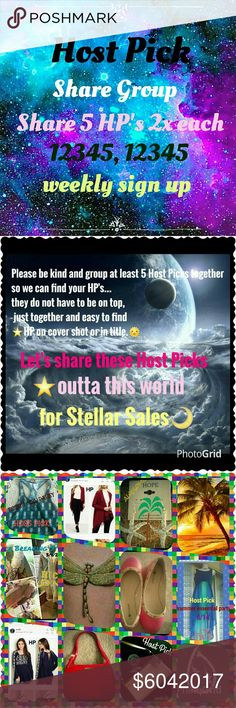 HPSG⭐6/4. Weekly sign up sheet CLOSES Mon 5pm EST Host Pick Share Group This share group is going to help us sell the beautiful host picks given to us by our fellow poshers.💜 You must have at least 5 Host Picks to join. You must be posh compliant. We are sharing 5 HOSTpicks 2x each as 12345, 12345...This is a weekly sign up. So please make sure you can do all week. And sign out with date when finished🌴⛵ Thank you ladies  Robin Other