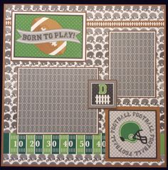 Football Scrapbook Layout Page Premade by PaisleyPlaceDesigns