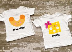 Macaroni & Cheese Twin Boy/Girl Shirt Set with Bow on One Shirt