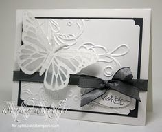Stamps: Short and Sweet  Paper: Whisper White, Basic Gray, Bride DSP, Vellum  Ink: Basic Gray  Accessories: Quickutz Monarch Butterfly Die, Elegant Lines Textured Impressions Folder, Marvy Double Scallop Corner Punch, Small Oval Punch, Basic Gray Taffeta Ribbon