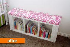 Before & After: Boring IKEA Billy Bookshelf to Rad Reading Bench — All Things Campbell