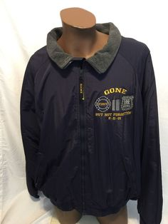 Vintage 9/11/01 NYPD FDNY Gone But Not Forgotten Embroidered Game Jacket sz 3XL #GAME #BasicJacket