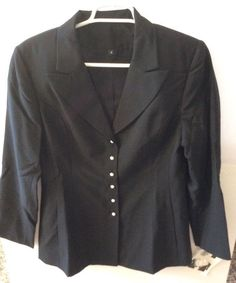 Chanel Black Pearl Button Wool Blazer Jacket Uniform Beaute Analyste Size 8 NWT #CHANEL #Blazer