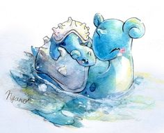 Momma and baby lapras watercolor painting! Such a beautiful and touching pokemon… Momma and baby lapras watercolor painting! Such a beautiful and touching pokemon fan art painting ? Pikachu, Lapras Pokemon, O Pokemon, Baby Pokemon, Mudkip, Pokemon Fan Art, Images Kawaii, Pokemon Mignon, Water Type