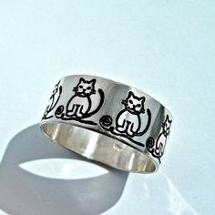 Personalized Cat ring Sterling silver cat pussy by MineOverMatter