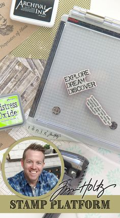The TRAVEL Stamp Platform! It's a best selling must-have tool for stampers! (try saying THAT 5 times fast! Scrapbooking, Scrapbook Cards, Tim Holtz Stamping Platform, Distress Ink Techniques, Travel Stamp, Tim Holtz Distress Ink, Card Tricks, Card Making Techniques, Rubber Stamping