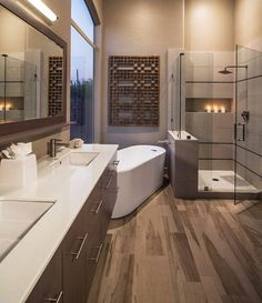 In a house, especially a large house must have a master bathroom. And the master bathroom has a larger size than the other bathrooms. And besides, the master bathroom is designed more elegant and m… Bad Inspiration, Bathroom Inspiration, Dream Bathrooms, Beautiful Bathrooms, Master Bathrooms, Luxury Bathrooms, Contemporary Bathrooms, Bathroom Modern, Contemporary Interior