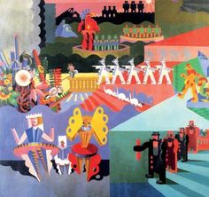 """My Dances Plastic """"I miei balli plastici"""" (1918) by Fortunato Depero - Italian Futurism - Viewed as part of the exhibition """"Italian Futurism, 1909–1944: Reconstructing the Universe at the Guggenheim Museum, NYC, NY 3/1/14"""