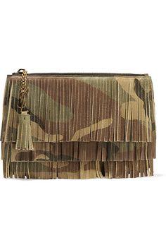 Saint Laurent | Monogramme fringed camouflage-print suede clutch | NET-A-PORTER.COM
