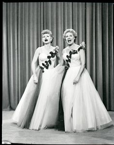 I Love Lucy...Lucy and Ethel unknowingly buy the same dress for a show they are performing a duet in....they both love the dress but to be fair they agree to both return the dress...one bought at Gimbel's... one at Macy's... but unbeknownst to each other they both keep their dress not finding out until they appear on stage.